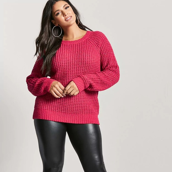 Forever 21 Sweaters 1x Hot Pink Plus Size Waffleknit Sweater